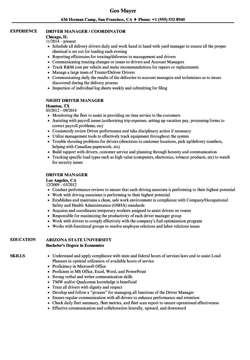 Driver Manager Resume Samples Velvet Jobs