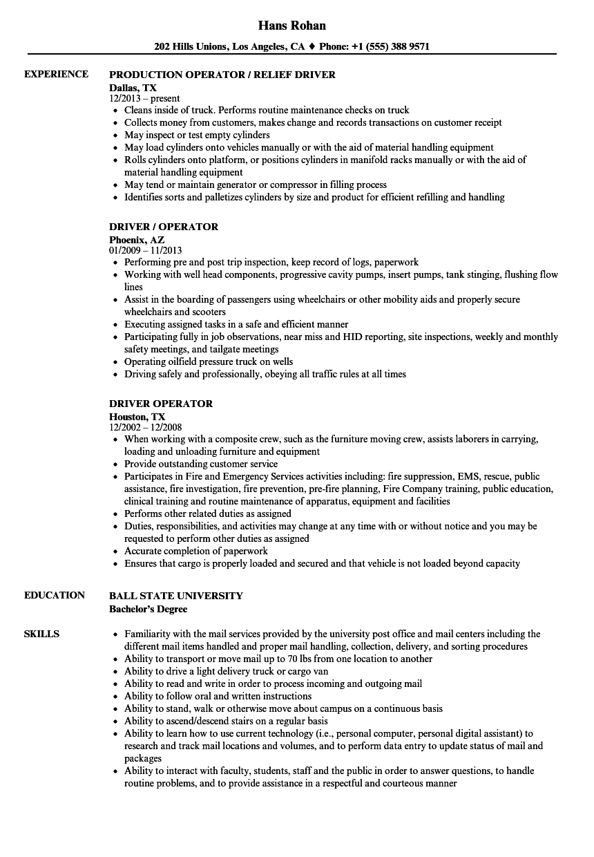 Driver Operator Resume Samples Velvet Jobs
