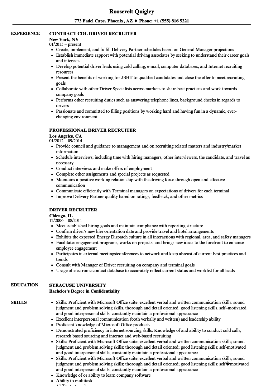 Driver Recruiter Resume Samples | Velvet Jobs