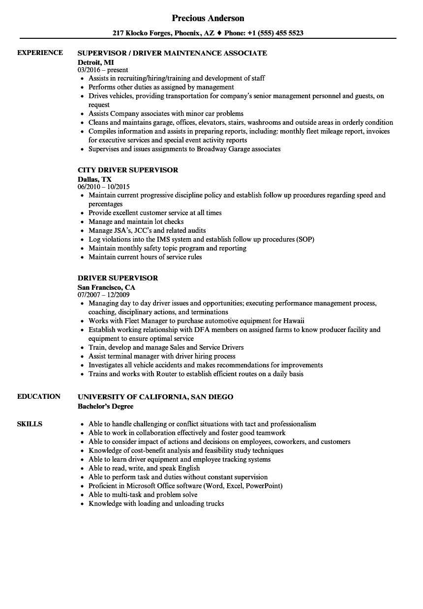 Driver Supervisor Resume Samples Velvet Jobs