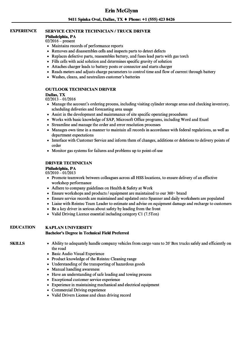 driver technician resume samples