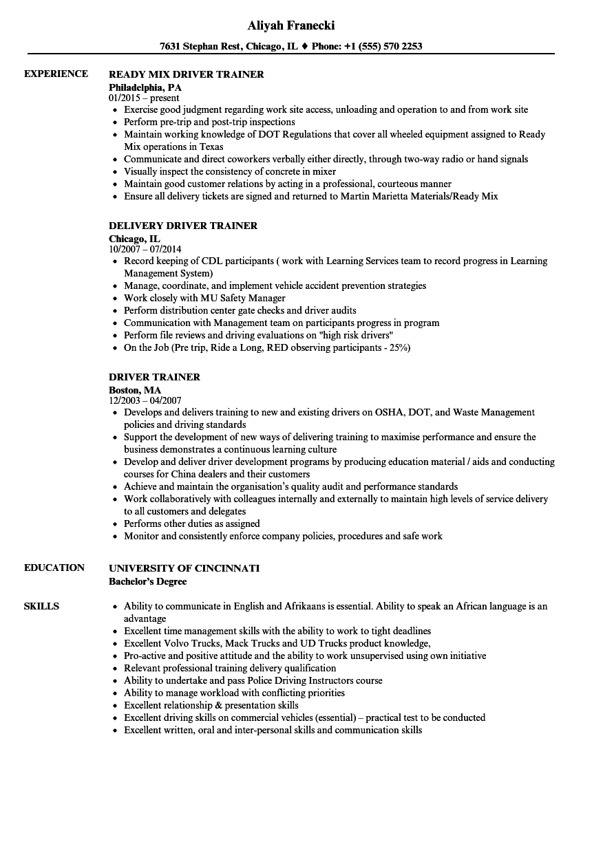 Driver Trainer Resume Samples Velvet Jobs