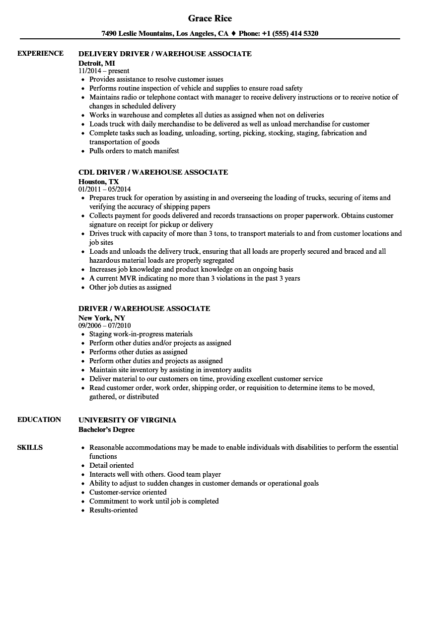 Download Driver Warehouse Associate Resume Sample As Image File