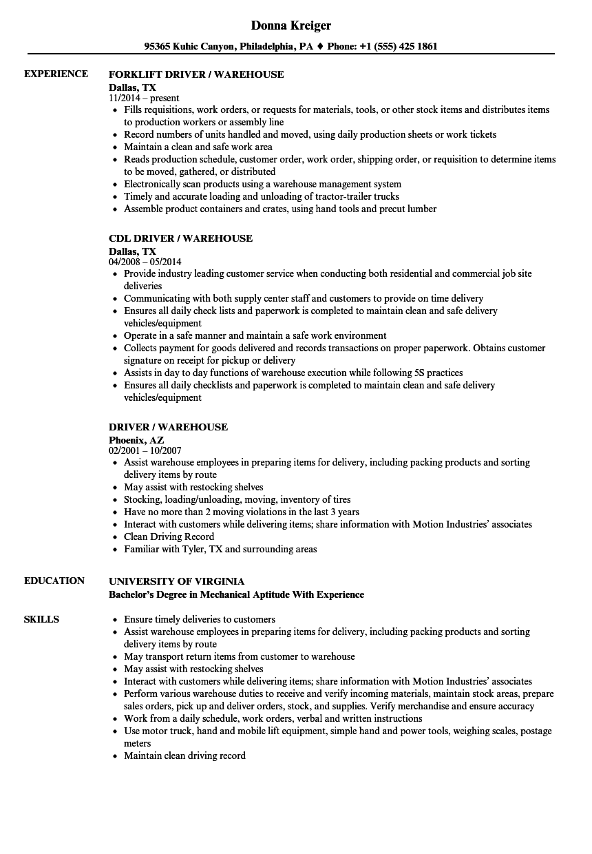 driver    warehouse resume samples