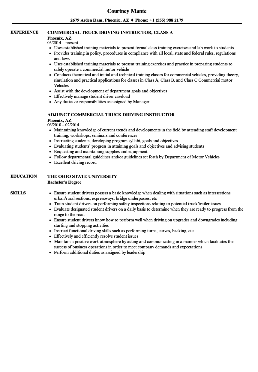 Driving Instructor Resume Samples | Velvet Jobs