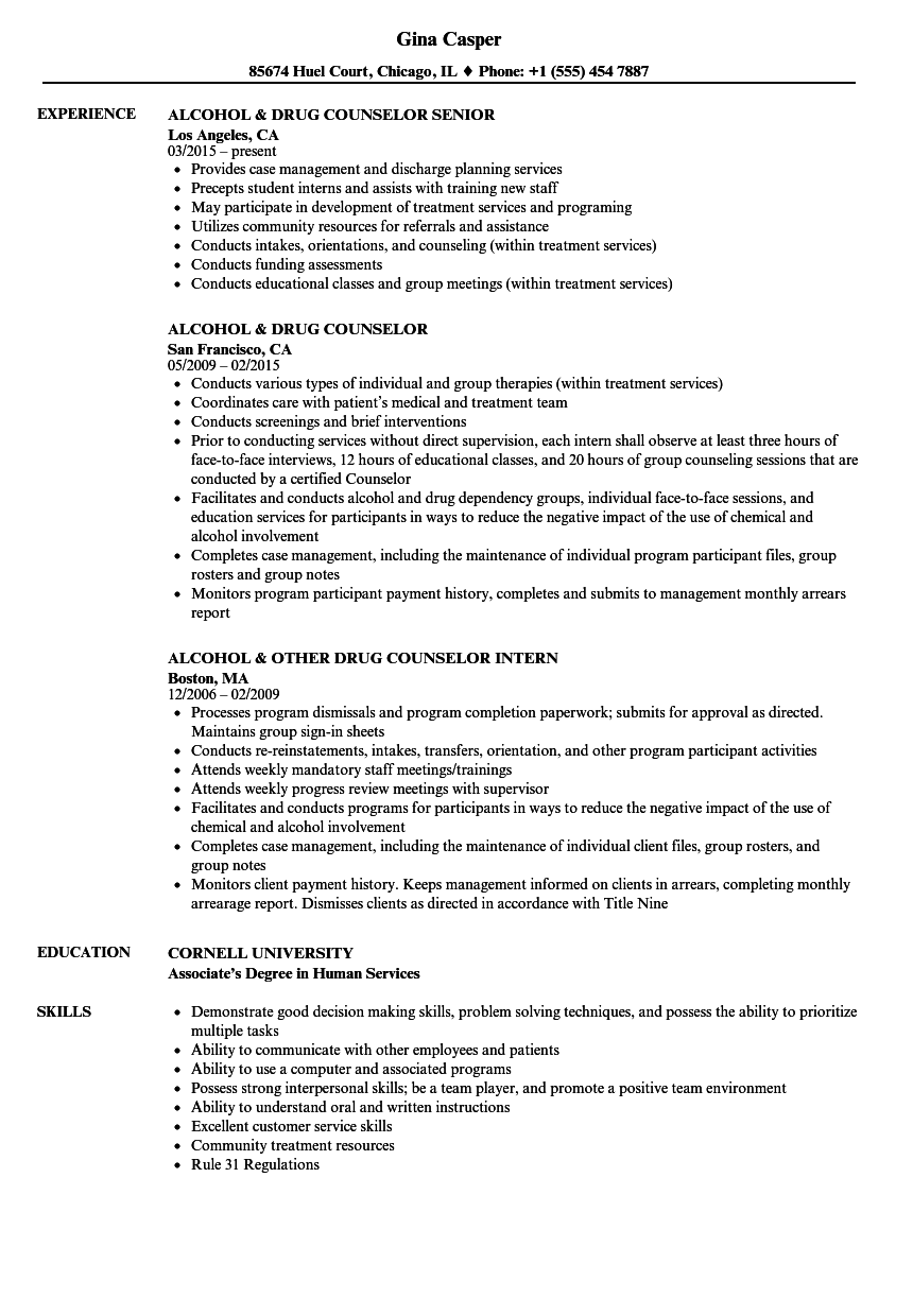 Drug Counselor Resume Samples | Velvet Jobs