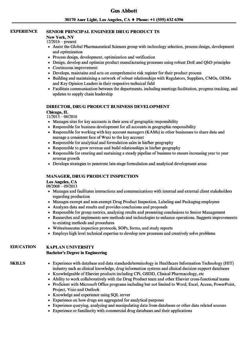 drug product resume samples