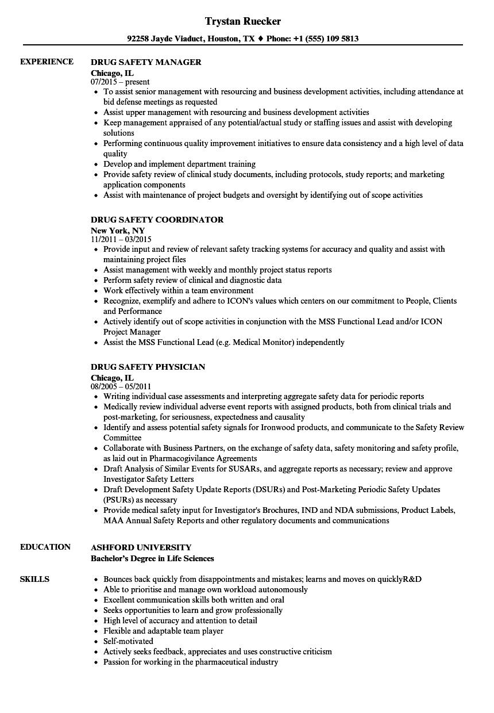 Drug Safety Resume Samples | Velvet Jobs