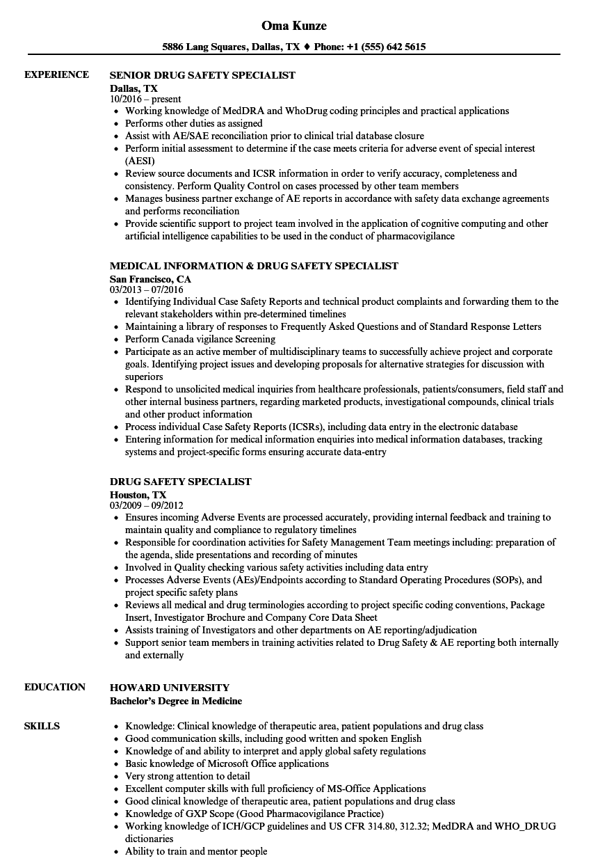 Drug Safety Specialist Resume Samples | Velvet Jobs