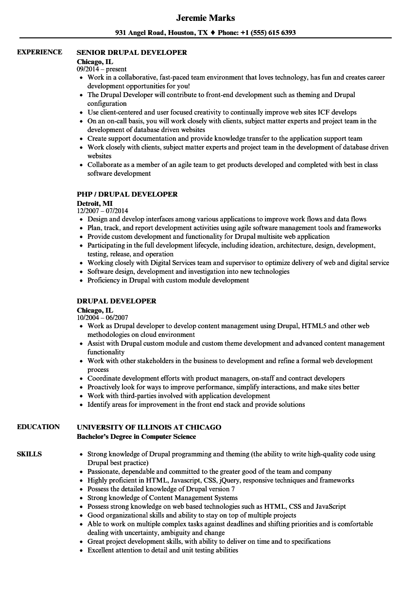 Drupal Developer Resume Samples | Velvet Jobs