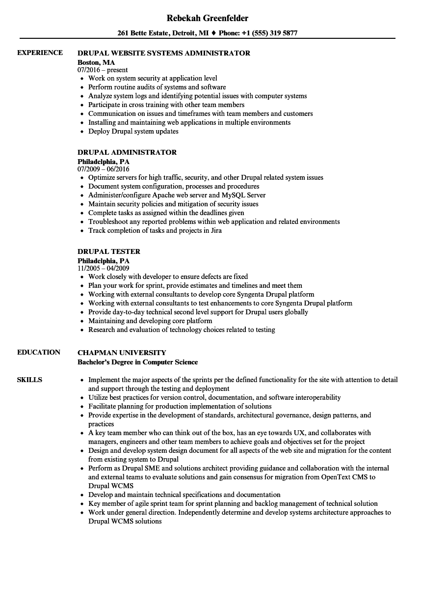 Drupal Resume Samples | Velvet Jobs