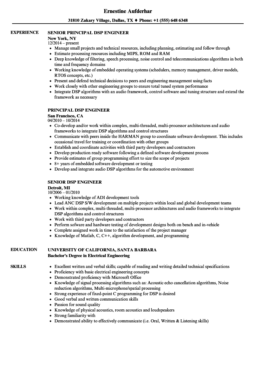 Download Dsp Engineer Resume Sample As Image File  Resume Examples For Engineers