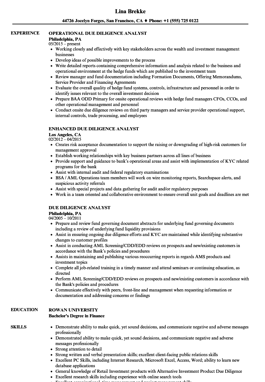 due diligence analyst resume samples