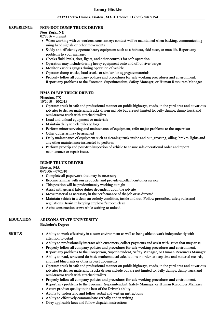 Download Dump Truck Driver Resume Sample As Image File