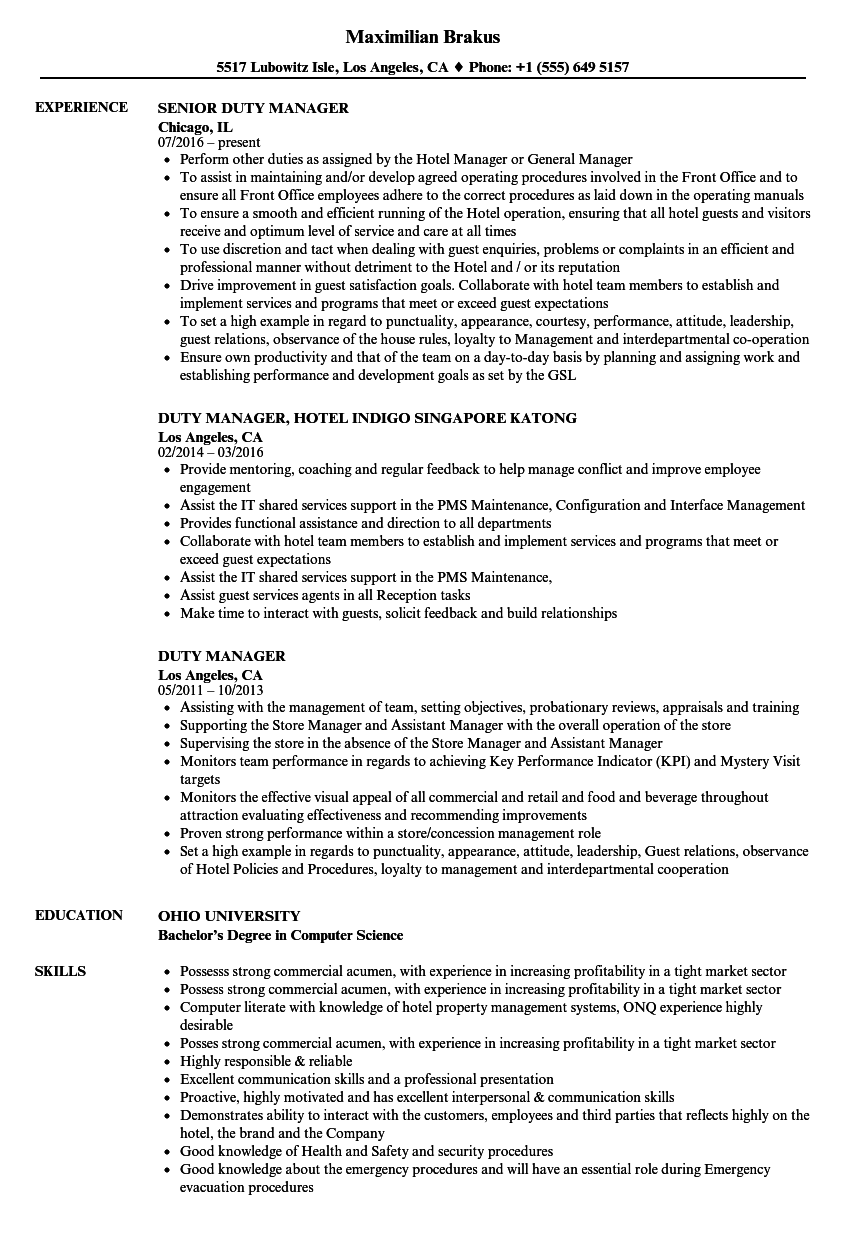 Duty Manager Resume Samples | Velvet Jobs
