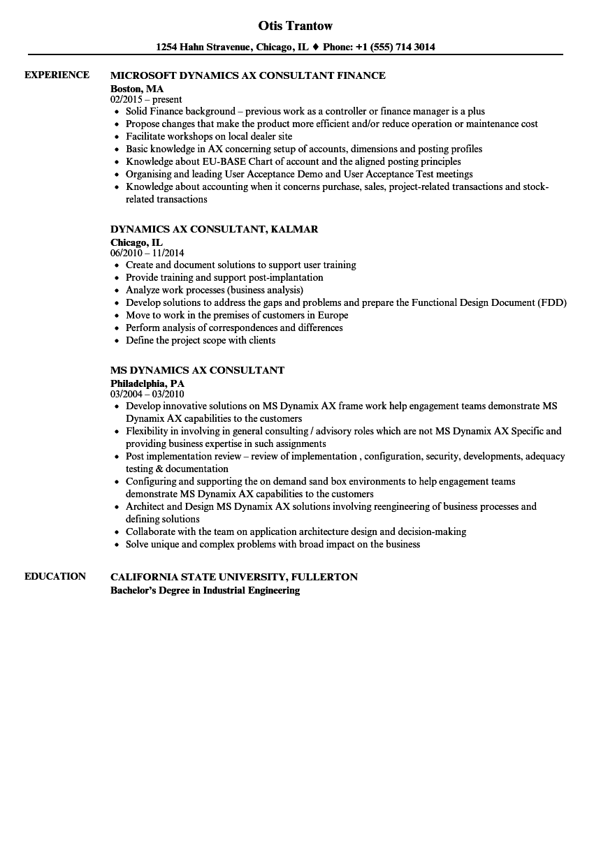 dynamics ax consultant resume samples