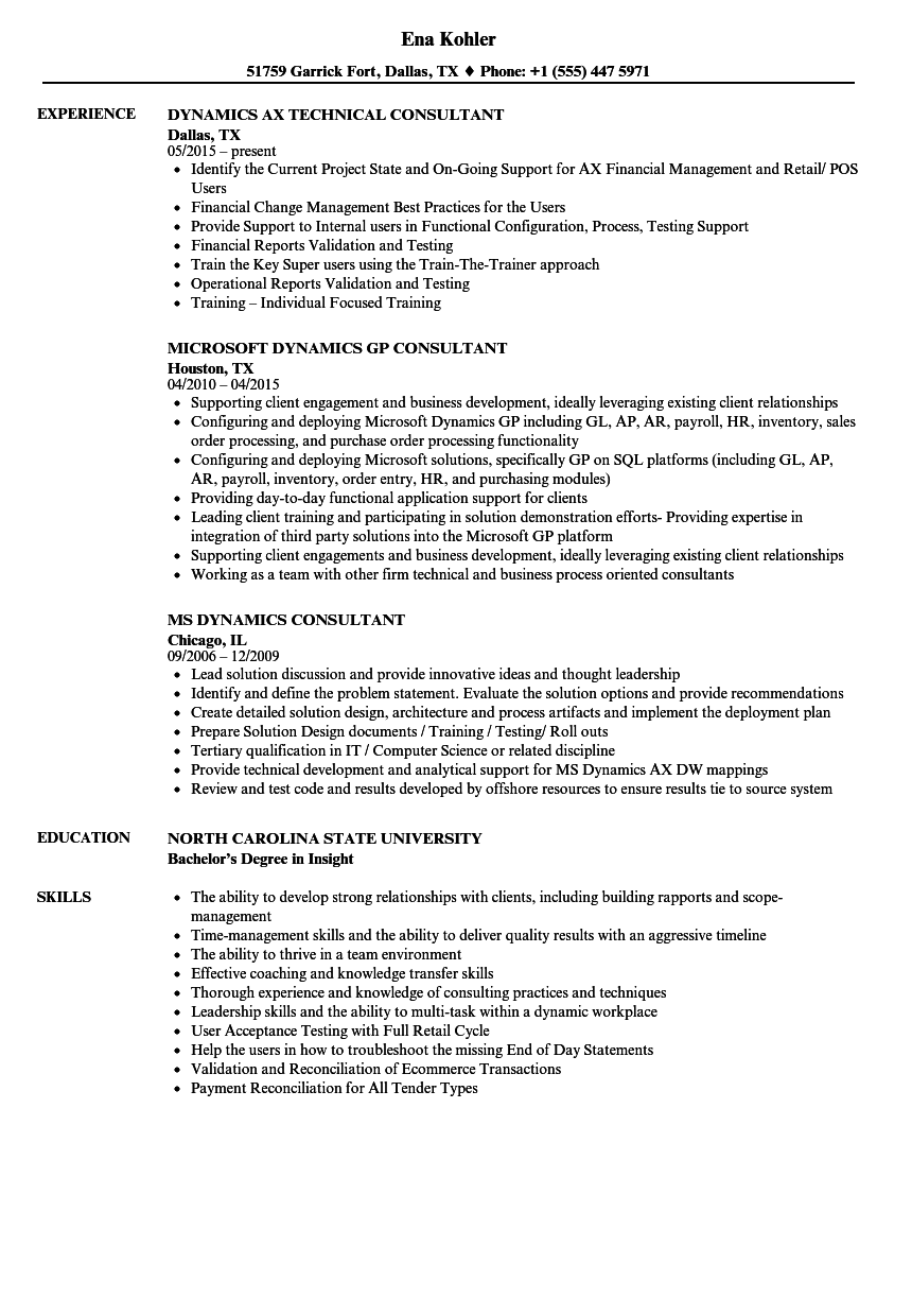 Dynamics Consultant Resume Samples | Velvet Jobs