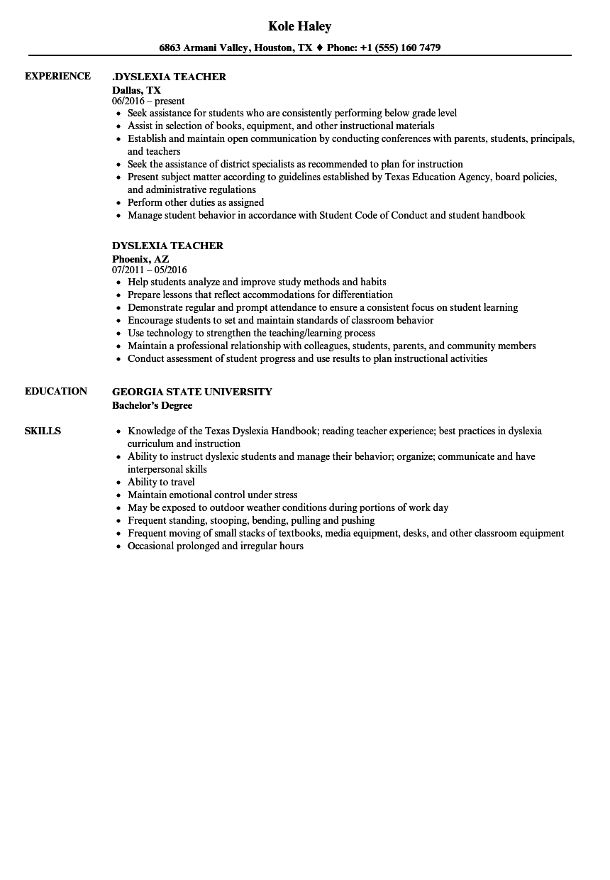 dyslexia teacher resume samples
