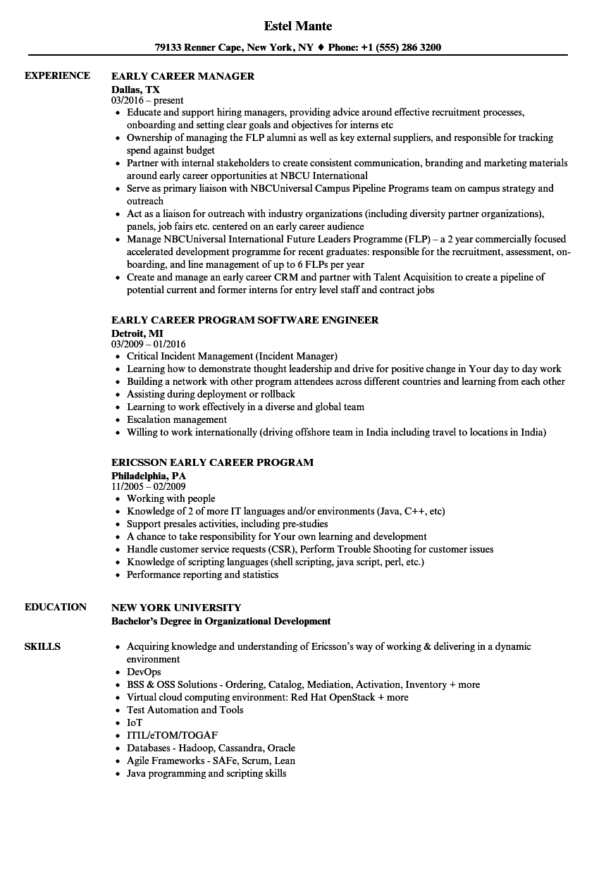 early career resume samples