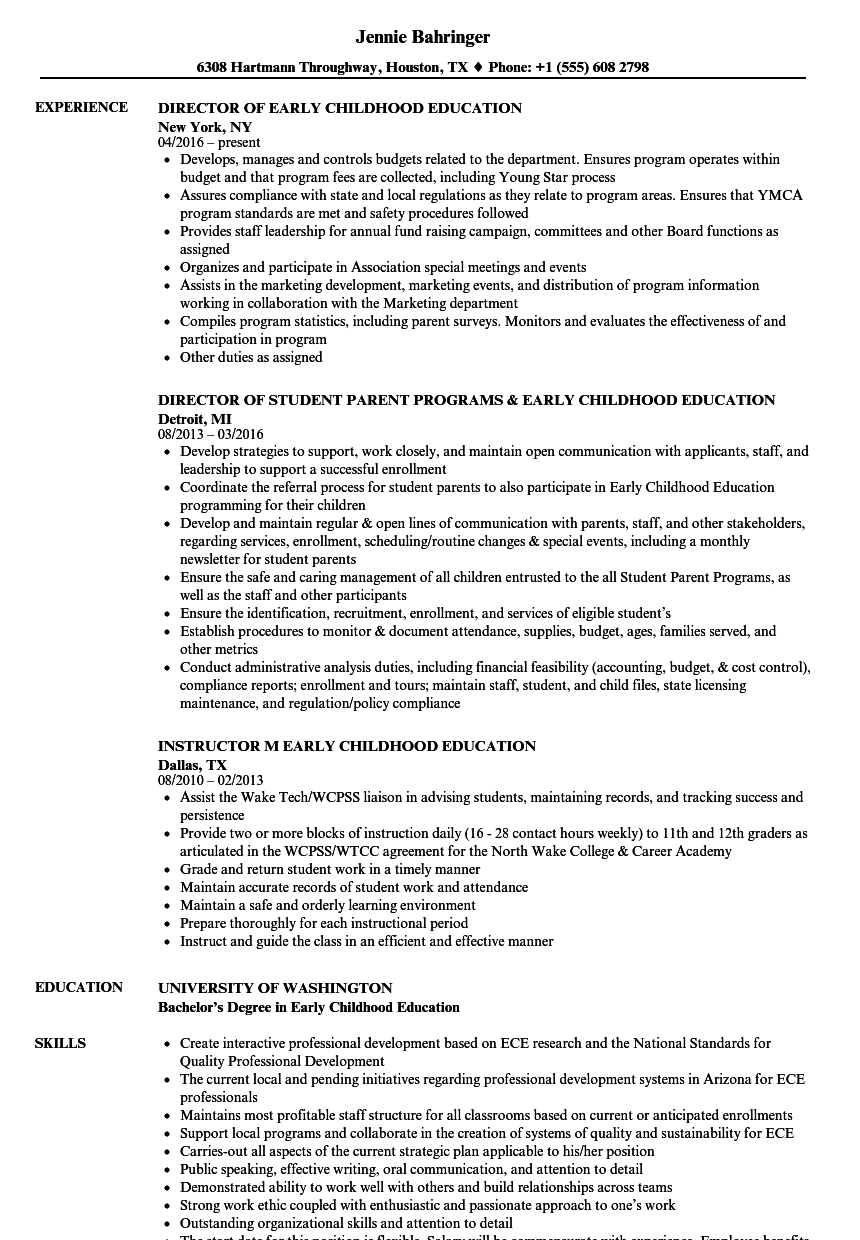 Early Childhood Education Resume Samples Velvet Jobs