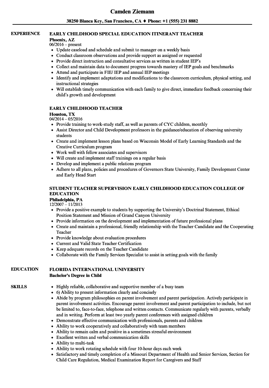 Early Childhood Teacher Resume Samples Velvet Jobs