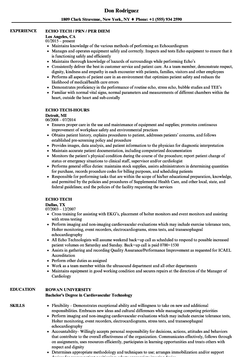 Echo Tech Resume Samples Velvet Jobs