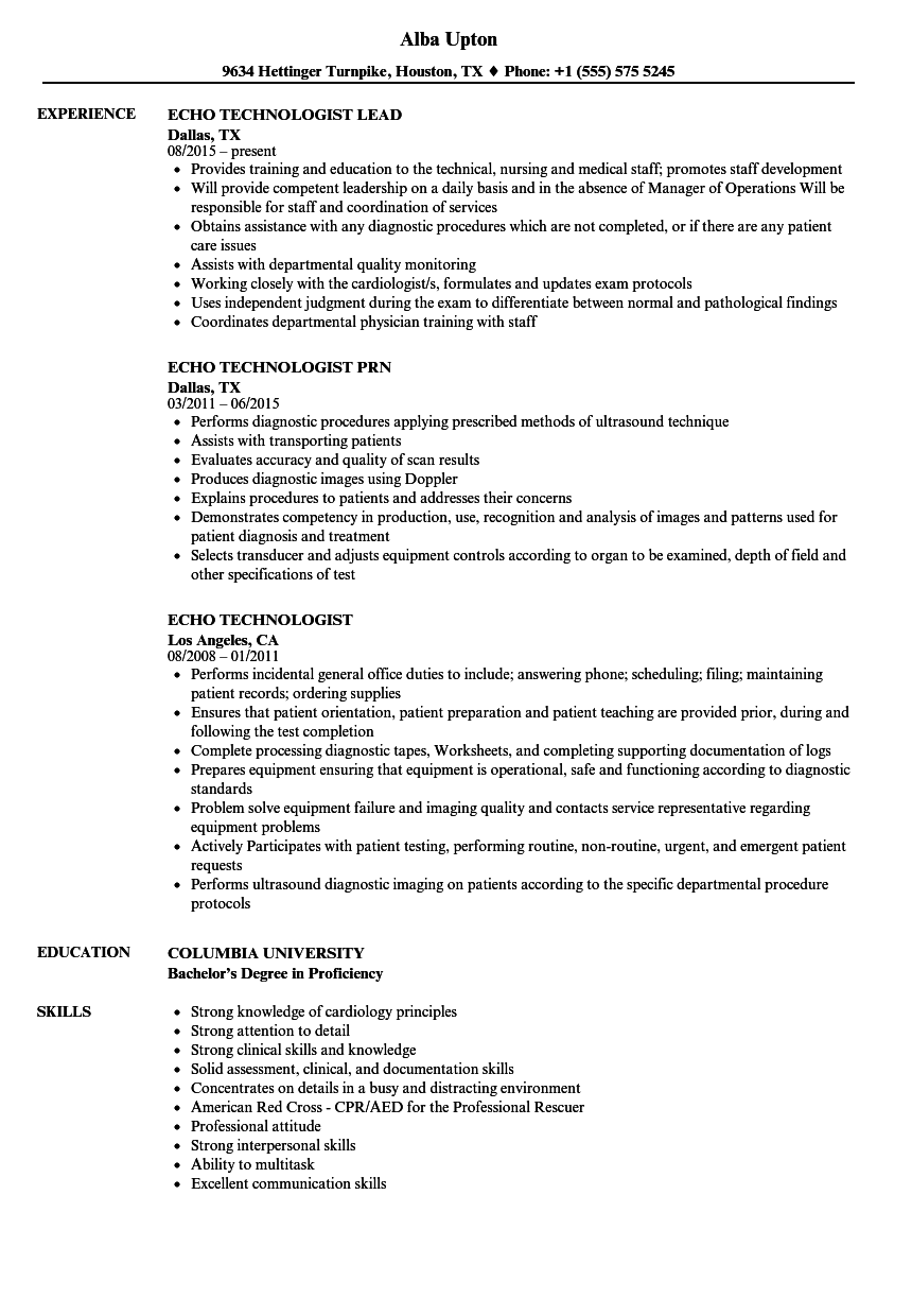 echo technologist resume samples