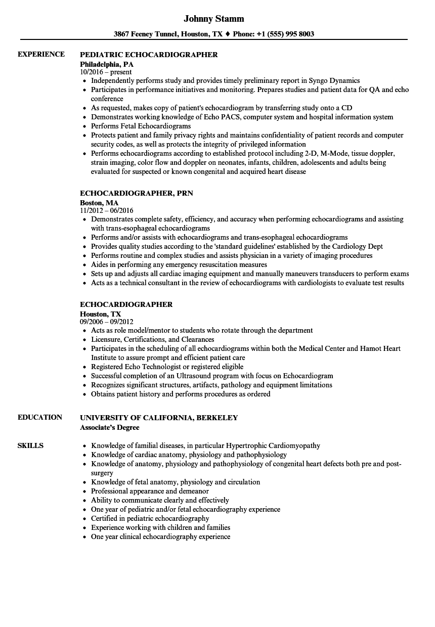 echocardiographer resume samples