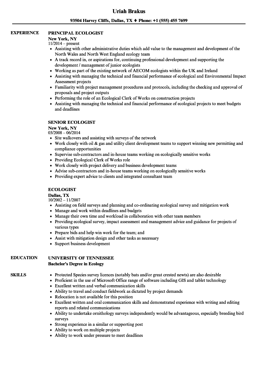 Ecologist resume talktomartyb for Careercup resume template