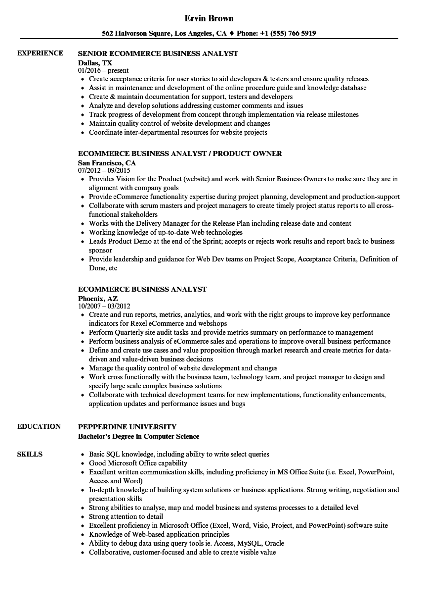 ecommerce business analyst resume samples