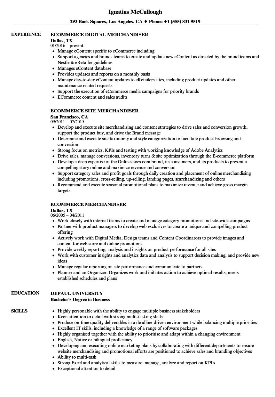 ecommerce merchandiser resume samples