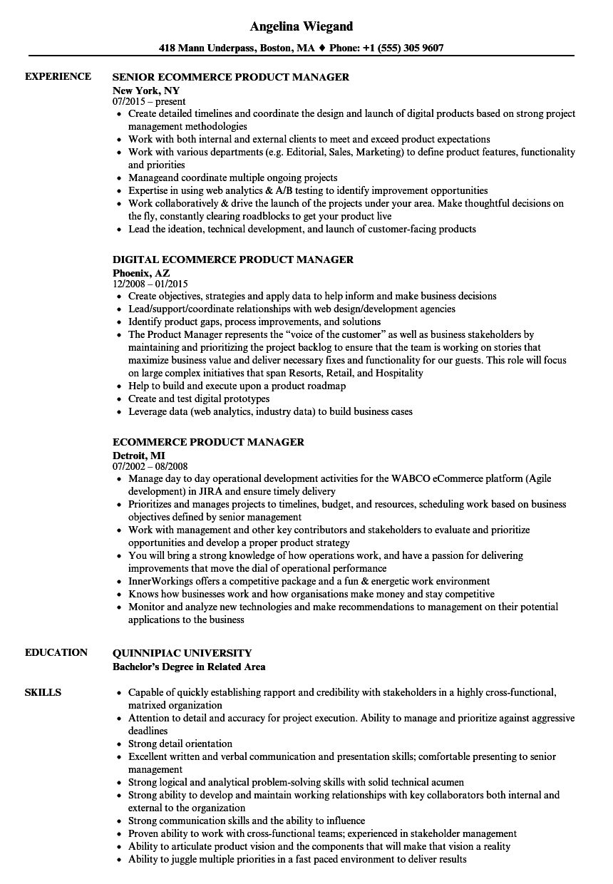 Ecommerce Product Manager Resume Samples | Velvet Jobs