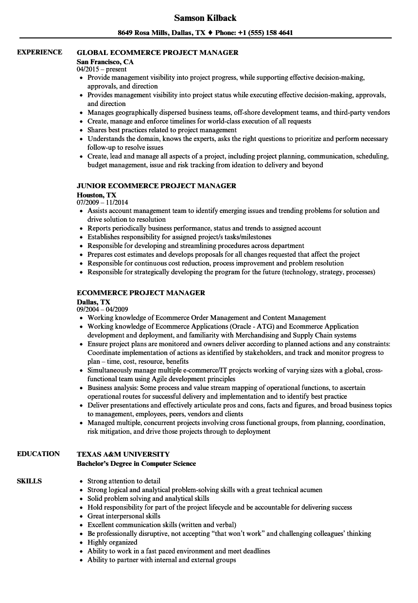 ecommerce project manager resume samples velvet jobs