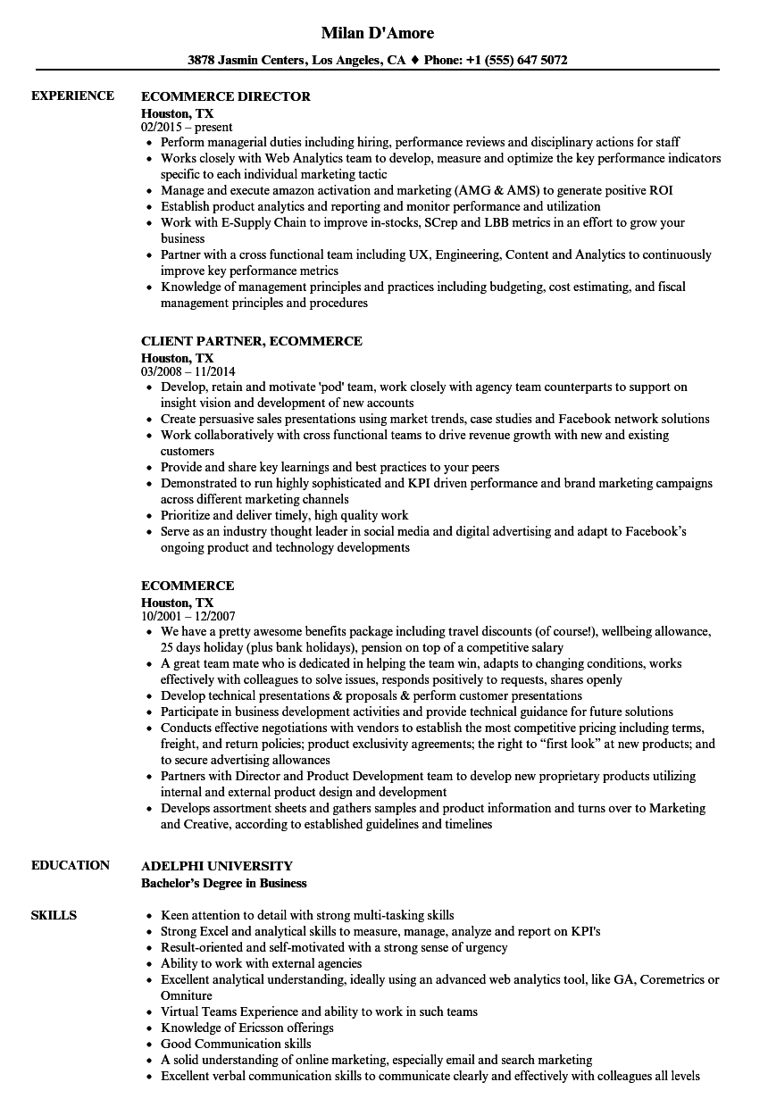 Ecommerce Resume Samples Velvet Jobs