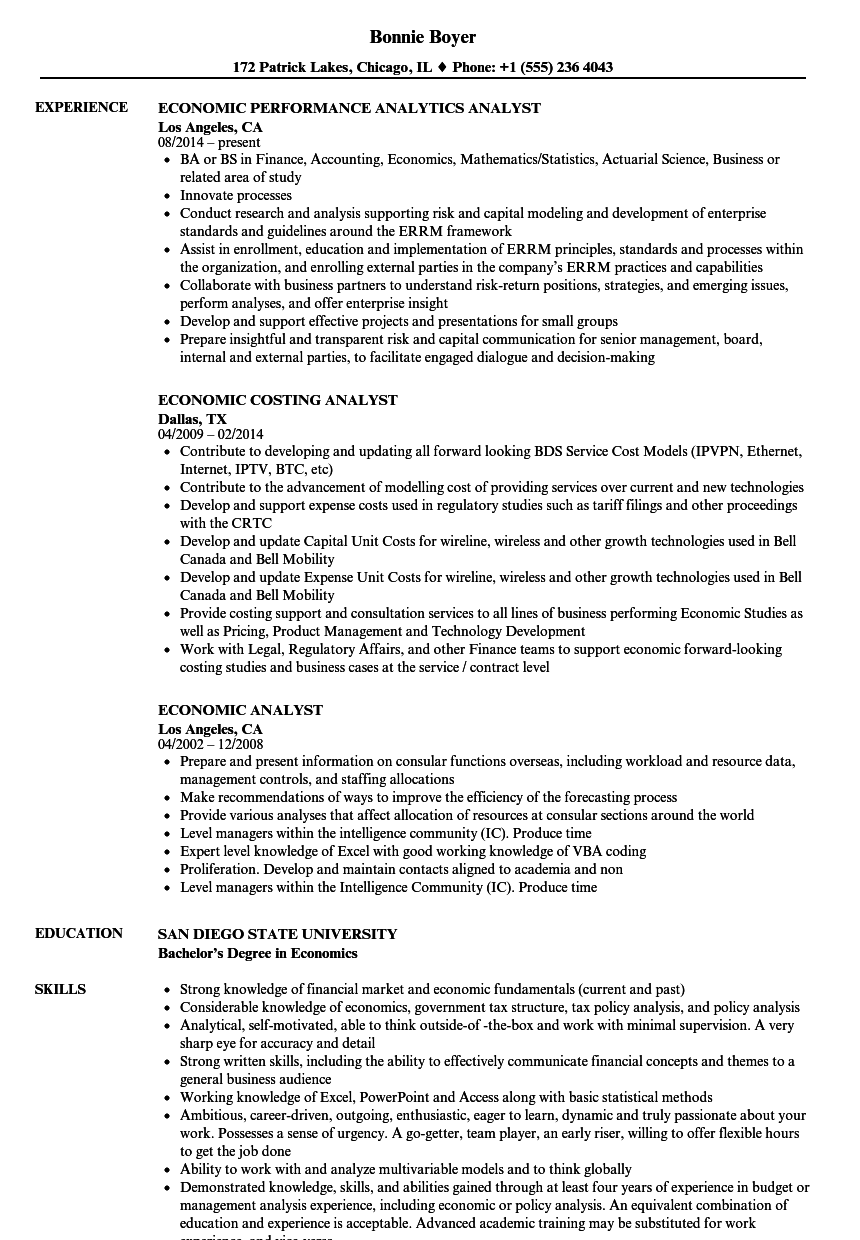 economic analyst resume samples