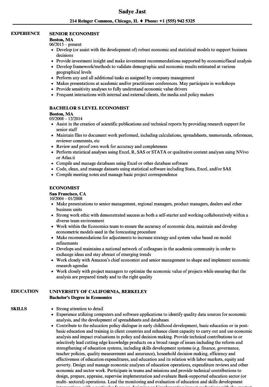 economist resume samples