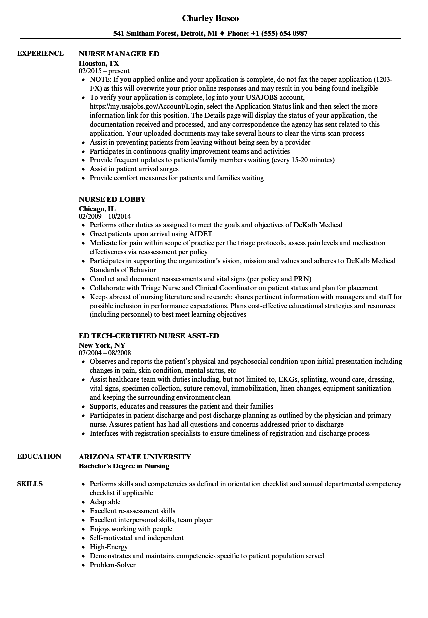 ed nurse resume samples
