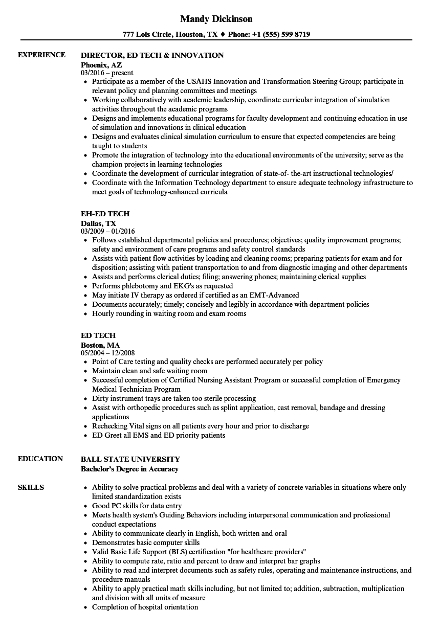 Ed Tech Resume Samples