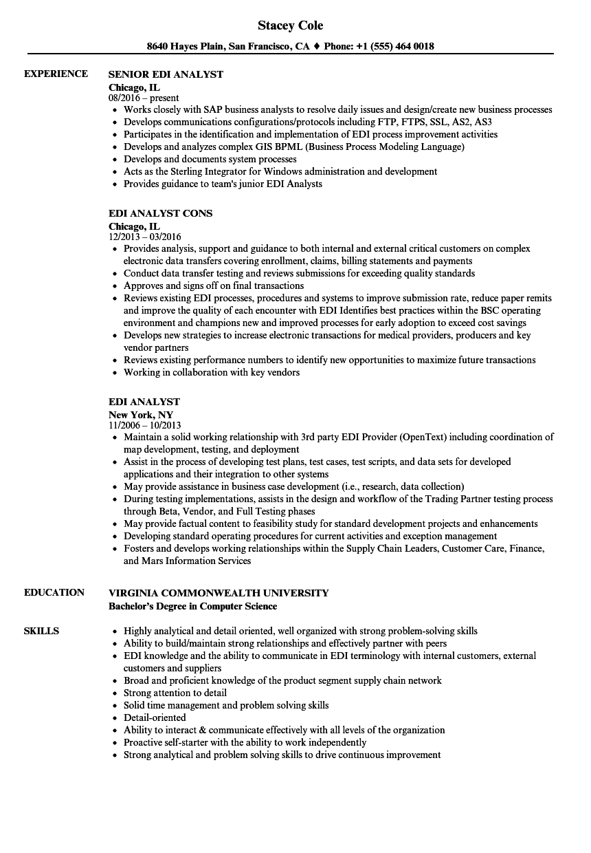 Edi Analyst Resume Samples | Velvet Jobs