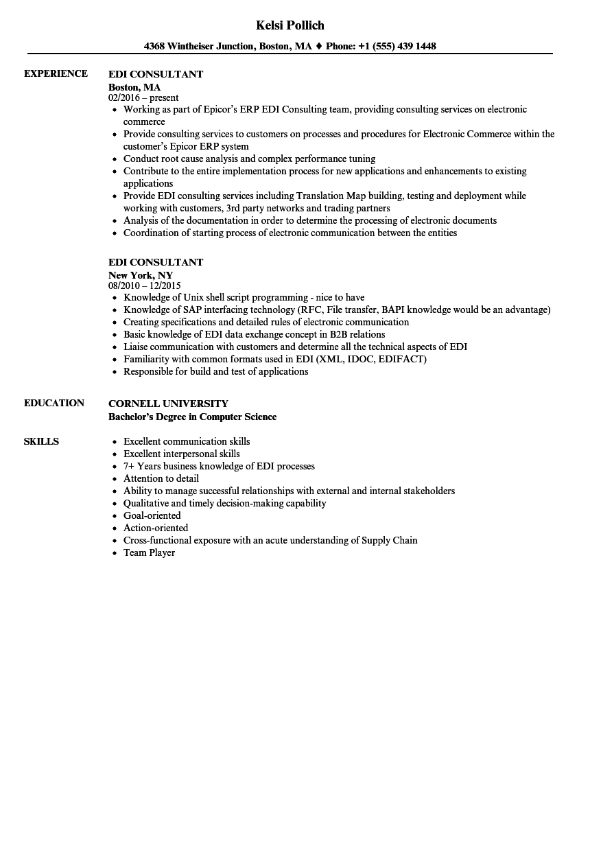 edi consultant resume samples