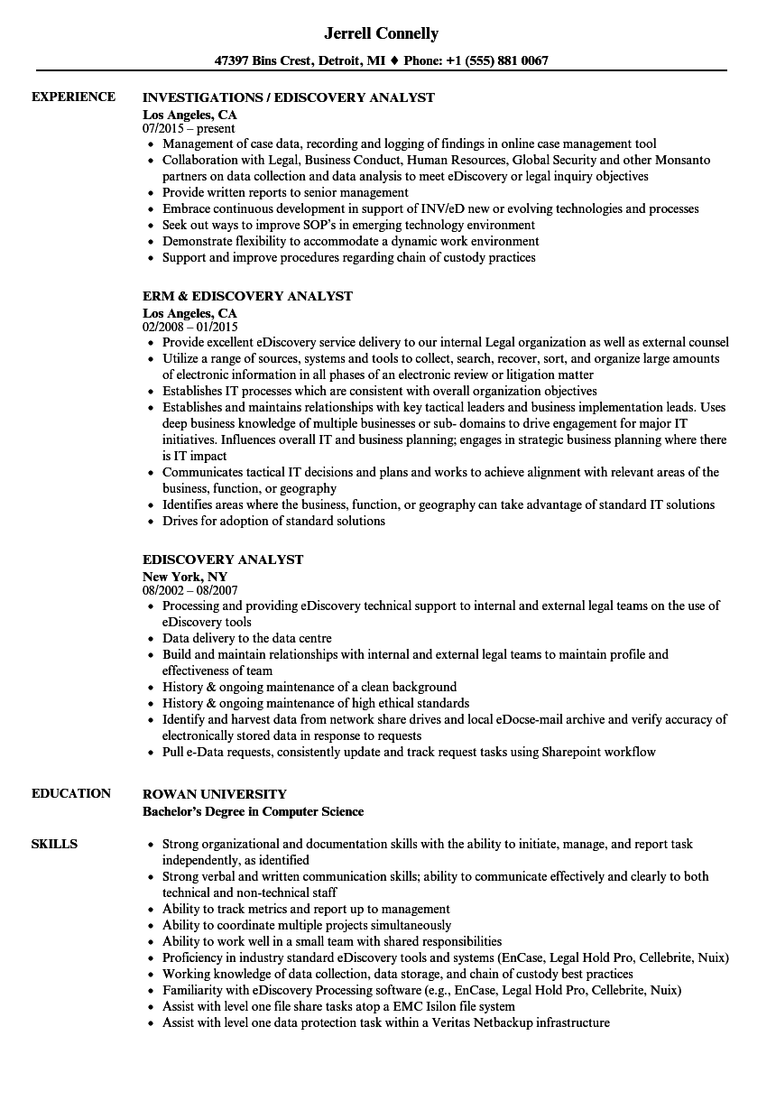Ediscovery Analyst Resume Samples