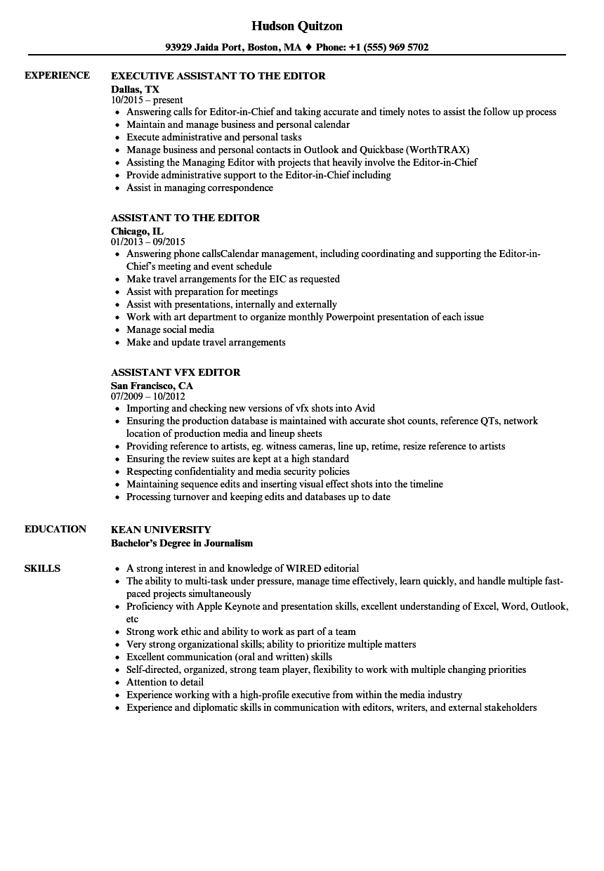 editor  assistant resume samples