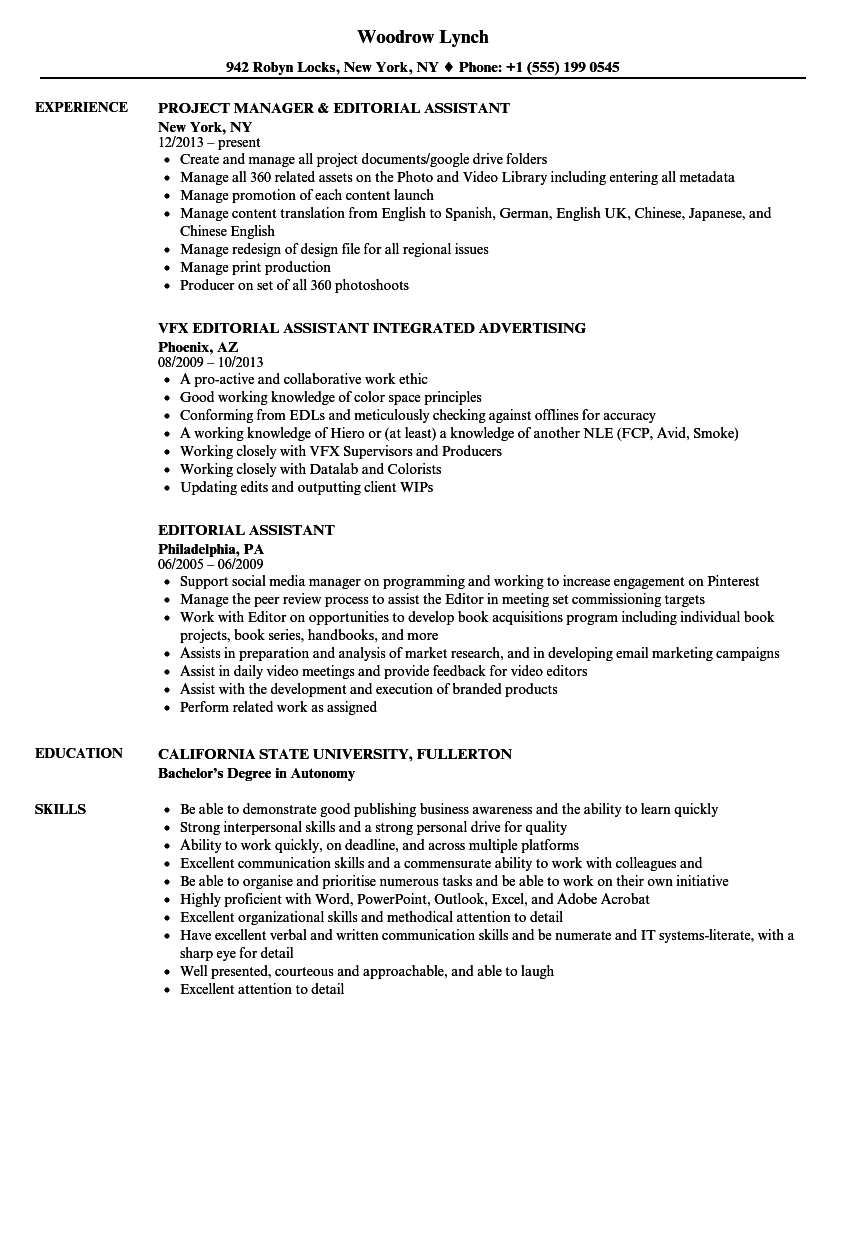 Editorial Assistant Resume Samples Velvet Jobs