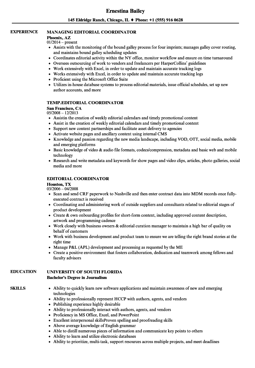 editorial coordinator resume samples