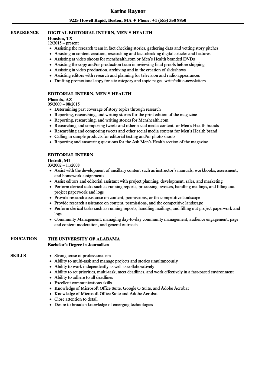 editorial intern resume samples