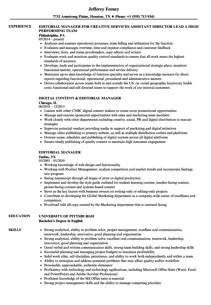 Editorial Manager Resume Samples | Velvet Jobs