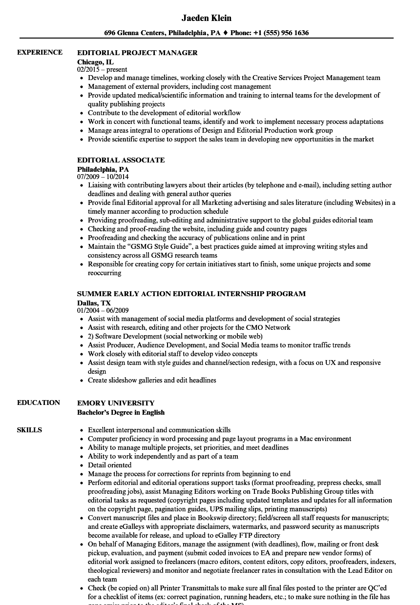 editorial resume samples