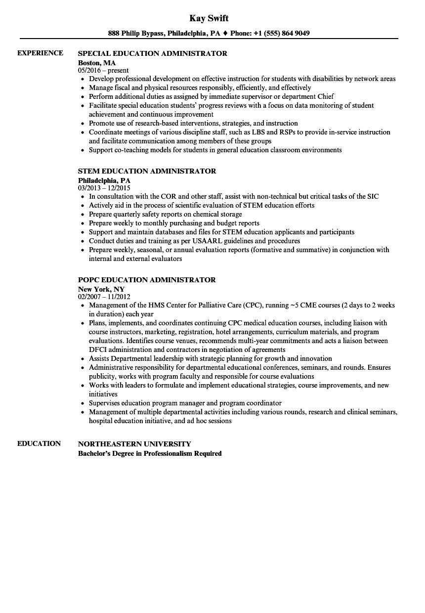 Good Download Education Administrator Resume Sample As Image File  School Administrator Resume