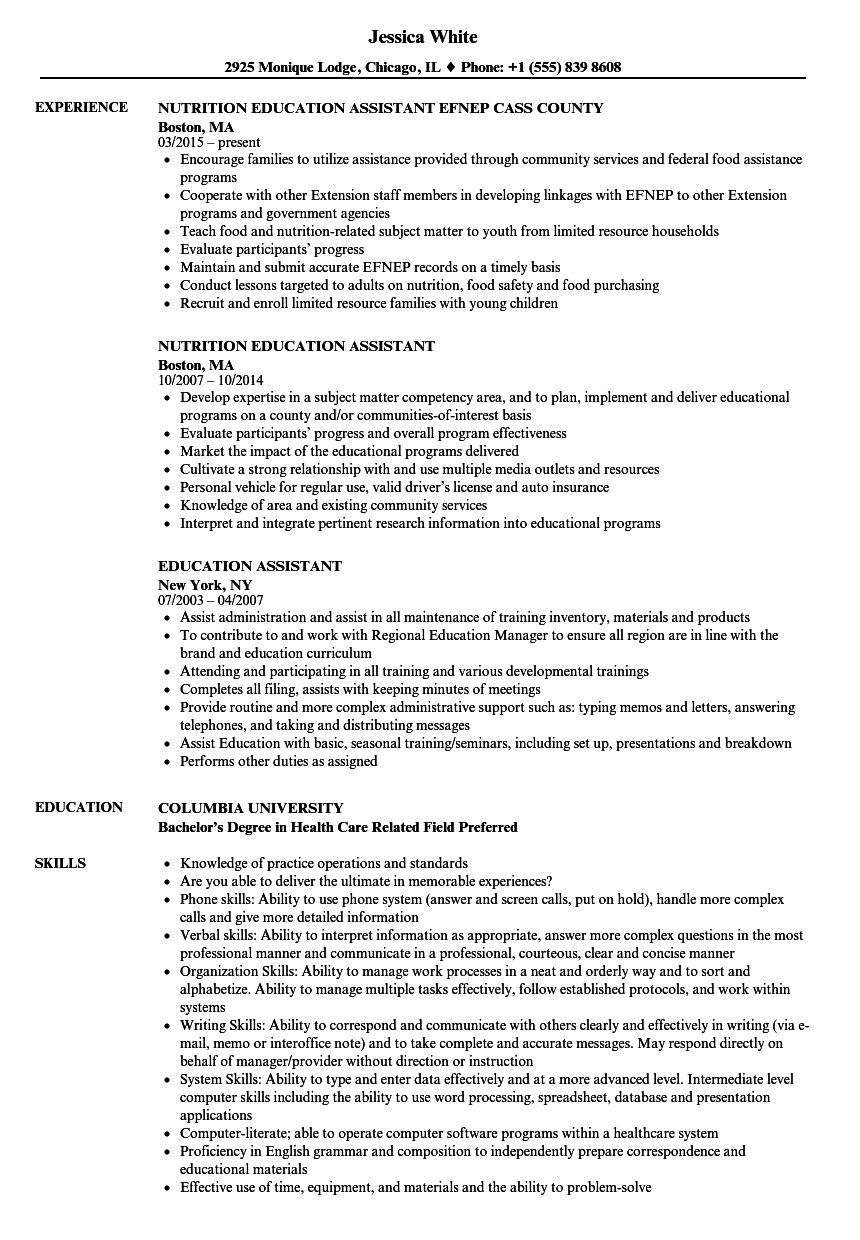education assistant resume samples