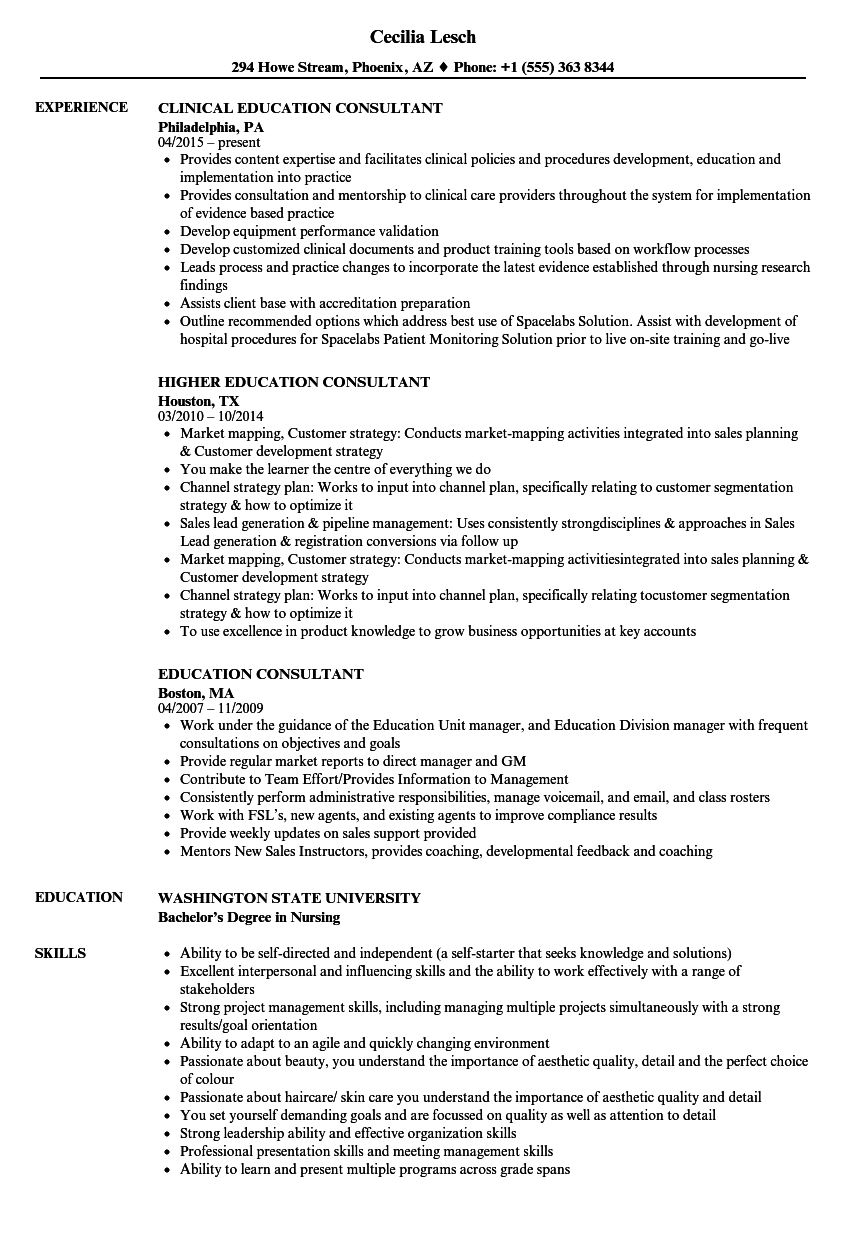Download Education Consultant Resume Sample As Image File